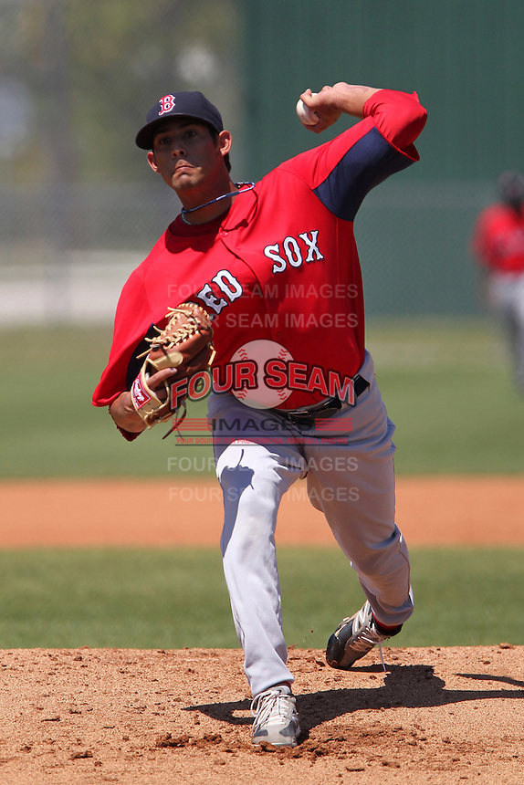 Boston Red Sox Miguel Pena #81 during minor league spring training game against the Minnesota Twins at the Lee County Sports Complex on March 26, 2012 in Fort Myers, Florida.  (Mike Janes/Four Seam Images)