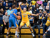 Justine Hartman of California in defense mode during the game against UCLA at Haas Pavilion in Berkeley, California on January 20th, 2013.   California defeated UCLA, 70-65.