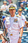 23 June 2013: The San Diego Padres welcomed Rear Admiral Dixon Smith to a game against the Los Angeles Dodgers at Petco Park in San Diego, California. Smith entered the Naval Academy Preparatory School in 1978, and received his commission from the United States Naval Academy in 1983 and was designated a surface warfare officer in 1985. The Dodgers defeated the Padres 3-1, splitting their 4-game Divisional Series at 2-2. Mandatory Credit: Ed Wolfstein Photo *** RAW (NEF) Image File Available ***