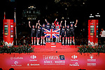 Christopher Froome (GBR) Team Sky wins the overall classification of La Vuelta, pictured on the podium with his team mates at the end of the final Stage 21 of the 2017 La Vuelta, running 117.6km from Arroyomolinos to Madrid, Spain. 10th September 2017.<br /> Picture: Unipublic/&copy;photogomezsport | Cyclefile<br /> <br /> <br /> All photos usage must carry mandatory copyright credit (&copy; Cyclefile | Unipublic/&copy;photogomezsport)