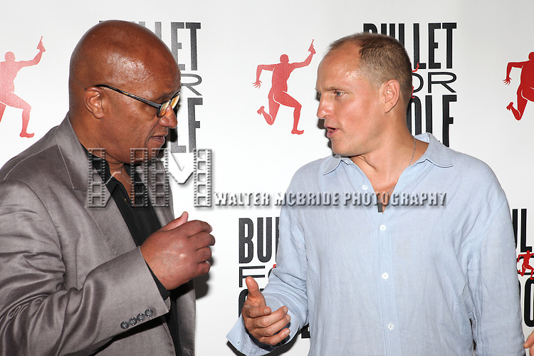 Frankie Hyman & Woody Harrelson attending the Opening Night Performance After Party for 'Bullet For Adolf' at Hurley's Saloon in New York City on 8/8/2012.