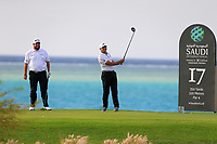 Shane Lowry (IRL) and Sergio Garcia (ESP) on the 17th tee during the 1st round of  the Saudi International powered by Softbank Investment Advisers, Royal Greens G&CC, King Abdullah Economic City,  Saudi Arabia. 30/01/2020<br /> Picture: Golffile | Fran Caffrey<br /> <br /> <br /> All photo usage must carry mandatory copyright credit (© Golffile | Fran Caffrey)