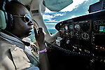 Gaston Ntambo, a United Methodist missionary pilot, flies from Kamina to Lubumbashi in the southern Congo as part of the Wings of the Morning aviation ministry of The United Methodist Church, which provides life-saving access to isolated rural communities.
