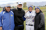 Courtnee Higgs with coaches at the Sophomore Day celebration after the first game of the Western Nevada College softball doubleheader on Saturday, April 30, 2016 at Pete Livermore Sports Complex. Photo by Shannon Litz/Nevada Photo Source