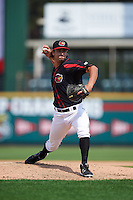 Rochester Red Wings relief pitcher J.T. Chargois (23) during a game against the Norfolk Tides on July 17, 2016 at Frontier Field in Rochester, New York.  Rochester defeated Norfolk 3-2.  (Mike Janes/Four Seam Images)