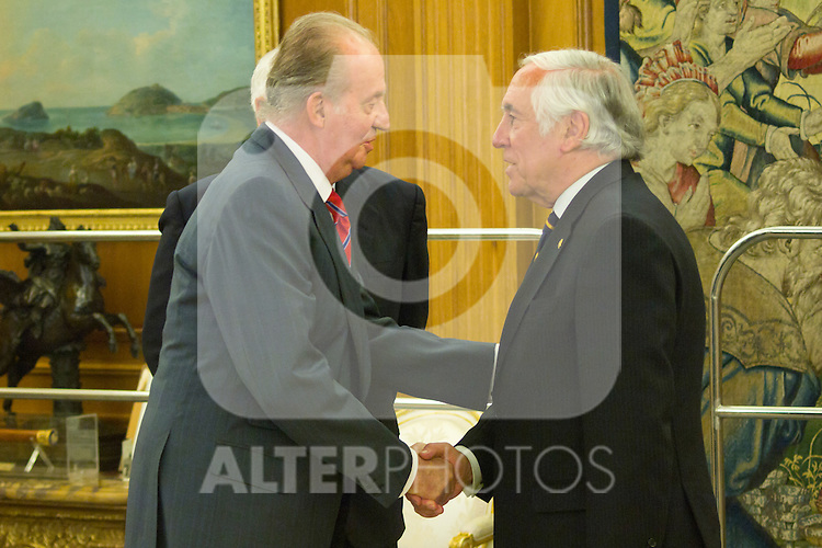 12.07.2012. King Juan Carlos I of Spain attend  a audience to Mr. Jose Manuel Garcia-Margallo Marfil, Minister of Foreign Affairs and Cooperation, and Mr. Carlos Espinosa de los Monteros, High Commissioner of the Government for The Mark Spain, at the Royal Palace of La Zarzuela. In the image King Juan Carlos and Carlos Espinosa de los Monteros (Alterphotos/Marta Gonzalez)