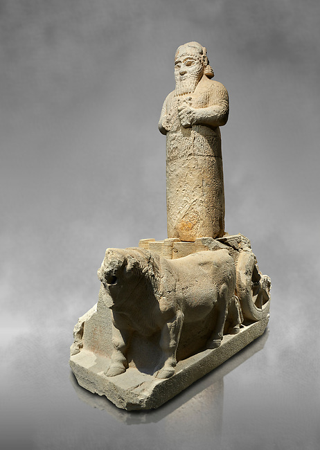Hittite monumental statue probably of Tarhunda, the Storm God, standing on a cart being pulled by two bulls. Adana Archaeology Museum, Turkey. Against a grey art background