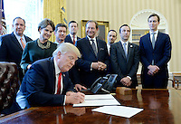 United States President Donald Trump, flanked by business leaders signs executive order establishing regulatory reform officers and task forces in US agencies in the Oval Office of the White House on February 24, 2017 in Washington, DC. Photo Credit: Olivier Douliery/CNP/AdMedia