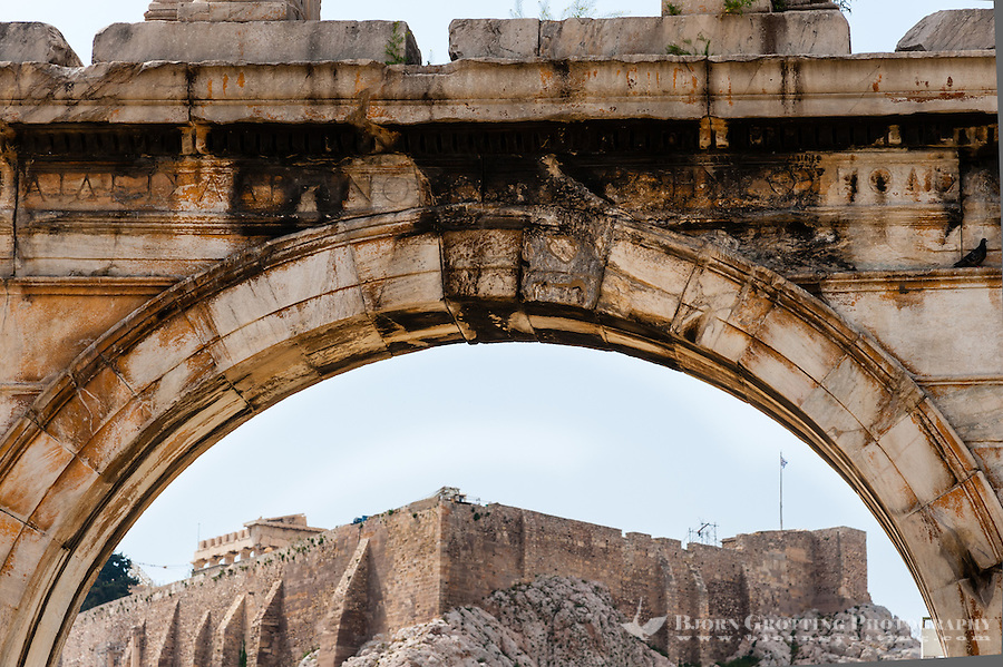Athens, Greece. The Arch of Hadrian with Acropolis in the background.