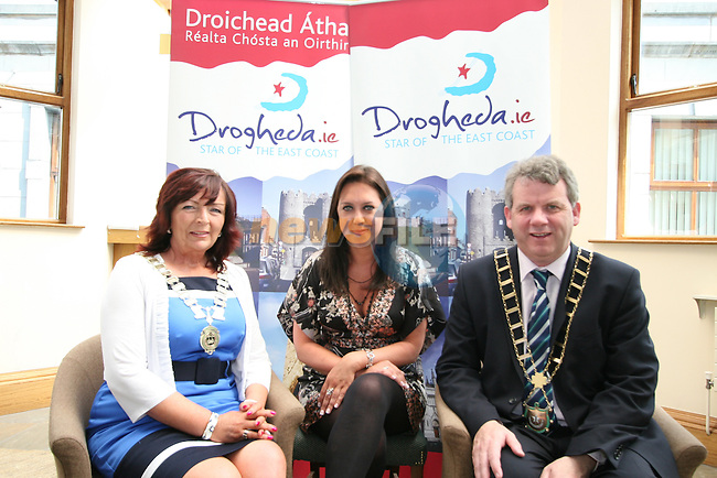 """Chairperson of Drogheda Economic Forum, Patricia Rooney, Caoimhe Mulroy of """"Once Upon Design"""" and Mayor Michael O'Dowd at the Launch of the new Brand for Drogheda Economic Forum....Photo NEWSFILE/Jenny Matthews.(Photo credit should read Jenny Matthews/NEWSFILE)....This Picture has been sent you under the condtions enclosed by:.Newsfile Ltd..The Studio,.Millmount Abbey,.Drogheda,.Co Meath..Ireland..Tel: +353(0)41-9871240.Fax: +353(0)41-9871260.GSM: +353(0)86-2500958.email: pictures@newsfile.ie.www.newsfile.ie.FTP: 193.120.102.198."""