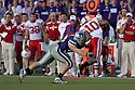 October 07, 2010: Kansas State linebacker Clarence Bumpas (58) puts a hit on Nebraska running back Roy Helu Jr. (10) at the Bill Snyder Family Stadium in Manhattan, Kansas.  Nebraska defeated Kansas State 48 to 13.