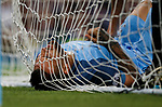 Nicolas Otamendi of Manchester City lies injured in the back of the net during the English Premier League match at the Etihad Stadium, Manchester. Picture date: May 16th 2017. Pic credit should read: Simon Bellis/Sportimage