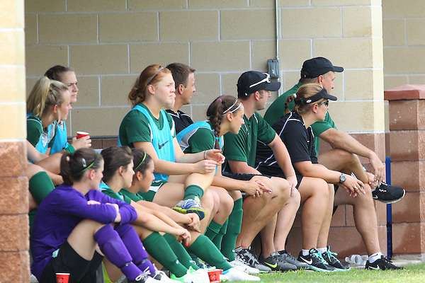 Denton, TX - AUGUST 31: North Texas Mean Green soccer player wait on the side lines during the game against University of Houston Cougars at the Mean Green Village Soccer Field on August 31, 2012 in Denton, Texas. NT won 2-1.(Photo by Rick Yeatts)