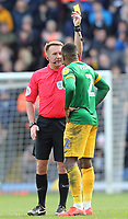 Preston North End's Darnell Fisher is shown a yellow card by Referee Oliver Langford<br /> <br /> Photographer Rich Linley/CameraSport<br /> <br /> The EFL Sky Bet Championship - Blackburn Rovers v Preston North End - Saturday 9th March 2019 - Ewood Park - Blackburn<br /> <br /> World Copyright © 2019 CameraSport. All rights reserved. 43 Linden Ave. Countesthorpe. Leicester. England. LE8 5PG - Tel: +44 (0) 116 277 4147 - admin@camerasport.com - www.camerasport.com