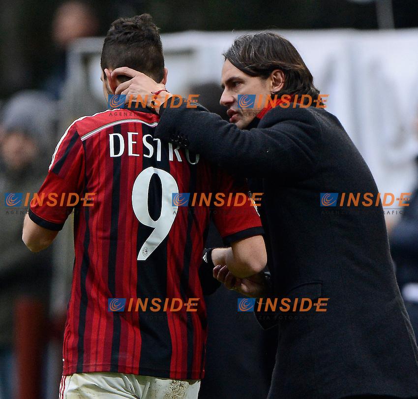 Filippo Inzaghi, Mattia Destro Milan<br /> Milano 15-02-2015 Stadio Giuseppe Meazza - Football Calcio Serie A Milan - Empoli. Foto Giuseppe Celeste / Insidefoto
