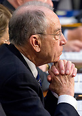 United States Senator Chuck Grassley (Republican of Iowa), Chairman, US Senate Judiciary Committee, listens as Judge Neil Gorsuch testifies before the committee on his nomination as Associate Justice of the US Supreme Court to replace the late Justice Antonin Scalia on Capitol Hill in Washington, DC on Tuesday, March 21, 2017.<br /> Credit: Ron Sachs / CNP