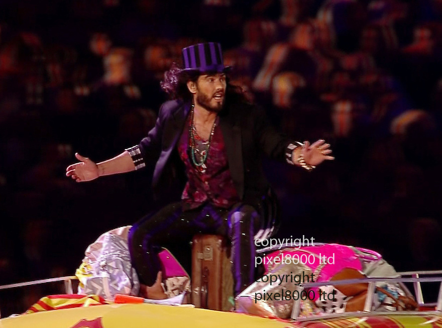 Olympics 2012 - BBC Coverage.Closing ceremony.Russell Brand sang on top of a caravan......Picture by Pixel8000 07917221968