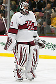 Merrick Madsen (Harvard - 31) - The Harvard University Crimson defeated the visiting Boston College Eagles 5-2 on Friday, November 18, 2016, at Bright-Landry Hockey Center in Boston, Massachusetts.{headline] - The Harvard University Crimson defeated the visiting Boston College Eagles 5-2 on Friday, November 18, 2016, at Bright-Landry Hockey Center in Boston, Massachusetts.