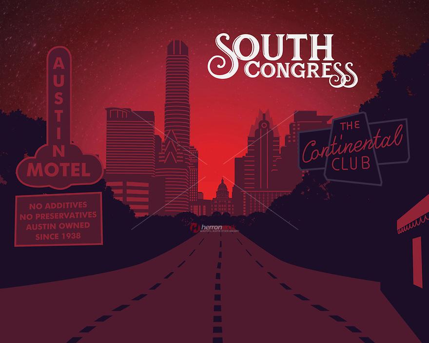 South Congress Avenue silhouette fine art print in red.