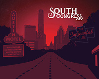 South Congress Avenue silhouette fine art print in red.