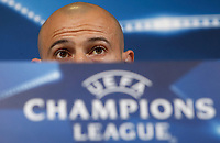 Football Soccer - Barcelona Press conference- Uefa Champions League,Juventus stadium, Turin, Italy, april 10, 2017.<br /> Barcelona's Javier Mascherano looks on during a news conference before the match against Juventus.