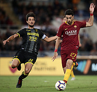 Football, Serie A: AS Roma - Frosinone, Olympic stadium, Rome, 26 September 2018. <br /> Roma's Javier Pastore (r) in action with Frosinone's captain Lorenzo Ariaudo (l) during the Italian Serie A football match between AS Roma and Frosinone at Olympic stadium in Rome, on September 26, 2018.<br /> UPDATE IMAGES PRESS/Isabella Bonotto