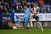 Bolton Wanderers' Ronan Darcy (right) competing with Coventry City's Michael Rose <br /> <br /> Photographer Andrew Kearns/CameraSport<br /> <br /> The EFL Sky Bet Championship - Bolton Wanderers v Coventry City - Saturday 10th August 2019 - University of Bolton Stadium - Bolton<br /> <br /> World Copyright © 2019 CameraSport. All rights reserved. 43 Linden Ave. Countesthorpe. Leicester. England. LE8 5PG - Tel: +44 (0) 116 277 4147 - admin@camerasport.com - www.camerasport.com