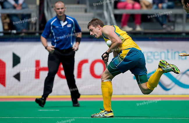 Hockey Mens World league Semi Finals Rotterdam 2013<br /> Spain v Australia 15062013<br /> <br /> Simon Orchard in action during the Round 3 of the World League.<br /> <br /> <br /> Photo: Grant Treeby / treebyimages
