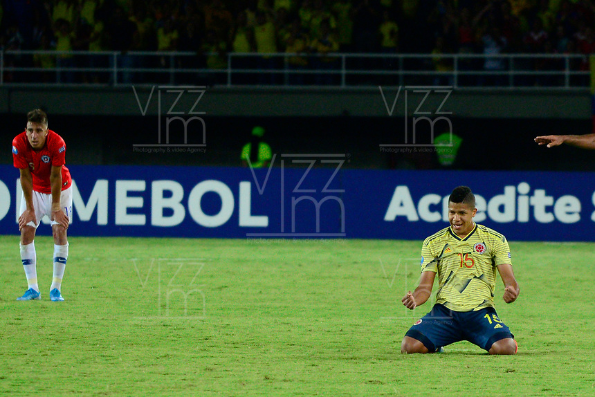 PEREIRA - COLOMBIA, 30-01-2020: Jaime Alvarado de Colombia celebra después del partido entre Colombia U-23 y Chile U-23 de la fecha 5, grupo A, del CONMEBOL Preolímpico Colombia 2020 jugado en el estadio Hernán Ramírez Villegas de Pereira, Colombia. / Jaime Alvarado of Colombia celebrates after the match between Colombia U-23 and Chile U-23 of the date 5, group A, for the CONMEBOL Pre-Olympic Tournament Colombia 2020 played at Hernan Ramirez Villegas stadium in Pereira, Colombia. Photo: VizzorImage / Cristian Alvarez / Cont