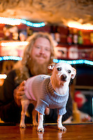 Bartender Rob Walsh and dog William at the Cave in Chapel Hill, NC.