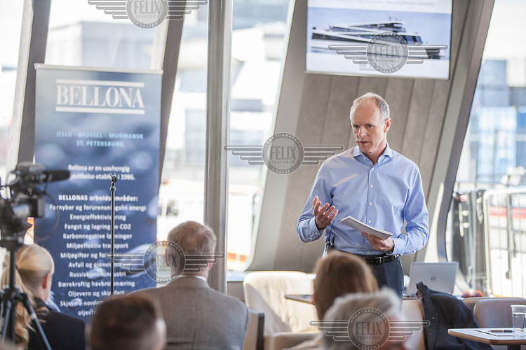 Press Announcement by The Fjords onboard the hybrid ferry VISION OF THE FJORDS at Tjuvholmen. Sturla Henriksen, Norwegian Shipownes Association,  Rederiforbundet.  <br /> <br /> &copy; Fredrik Naumann/Felix Features