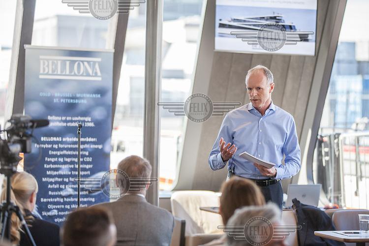 Press Announcement by The Fjords onboard the hybrid ferry VISION OF THE FJORDS at Tjuvholmen. Sturla Henriksen, Norwegian Shipownes Association,  Rederiforbundet.  <br /> <br /> &copy; Fredrik Naumann/Felix Features