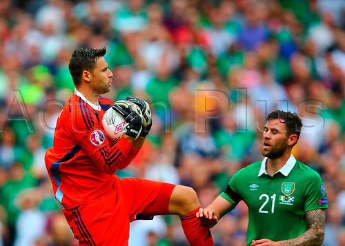 13.06.2015. Dublin, Ireland. Euro2016 Qualifying. Republic of Ireland versus Scotland. David Marshall (Scotland) gathers the ball in the box.