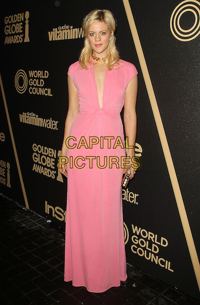Georgia King.The Hollywood Foreign Press Association And InStyle Miss Golden Globe 2013 Party held at Cecconi's Restaurant, West Hollywood, California, USA, 29th November 2012..full length pink dress long maxi low cut plunging neckline .CAP/ADM/KB.©Kevan Brooks/AdMedia/Capital Pictures.