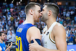 Victor Claver (l) and Felipe Reyes after the final of Supercopa Endesa. September 22, 2019. (ALTERPHOTOS/Francis González)