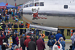 After it finished its flying demonstration, the B-29 Super Fortress landed and taxied up a &quot;hot ramp&quot; adjacent to crowds watching the flights at the Spirt of St. Louis Air Show &amp; STEM Expo held on Saturday October 13, 2018 at the airport located in Chesterfield, MO. <br /> Photo by Tim Vizer