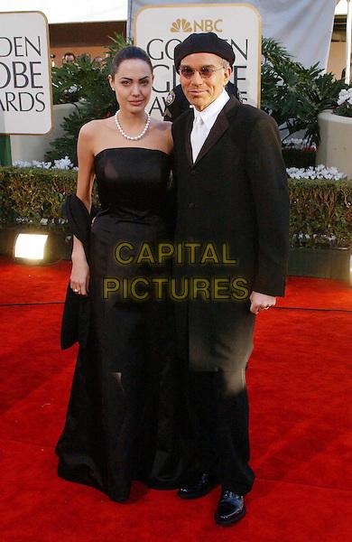 ANGELINA JOLIE & BILLY BOB THORNTON..Golden Globe Awards 2002..Ref: AW..ex celebrity couple, divorced, pearl necklace, hat, sunglasses, shades, black dress, red carpet, full length, full-length..www.capitalpictures.com..sales@capitalpictures.com..©Capital Pictures