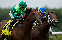 SARATOGA SPRINGS, NY- AUGUST 03: Raging Bull with Joel Rosario catches Maraud with Iran Ortiz Jr. in the final strides win the National Racing Museum Hall of Fame Stakes at Saratoga Racecourse on August 3, 2018 in Saratoga Springs, New York.(Photo by Alex Evers/Eclipse Sportswire)