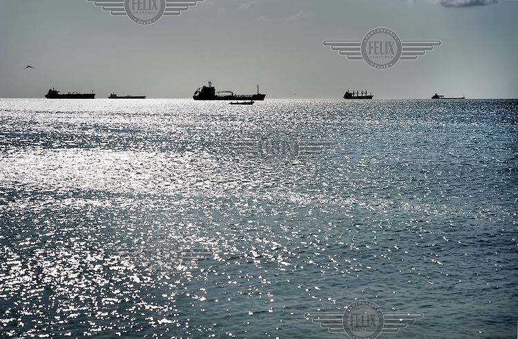 Oil tankers moored in the sea off Punto Fijo the world's largest oil refinery.