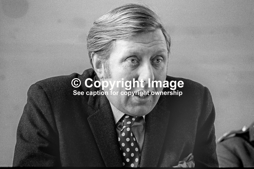 Roy Hattersley, MP, Labour Party, Secretary of State for Defence, photographed at Press Conference during visit to N Ireland, March 1970. 197003000119<br />