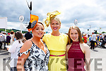 Sharon Heffernan (Tralee/Listowel), Diane and Dervla Jeffers (Tralee) attending Ladies Day at the Listowel Races on Sunday.