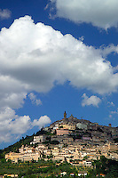 Trevi, Umbria, Italy, June 2006. The walled city of Trevi is perched high on a hill and shaped by many narrow alleys and cobble stone streets. From its walls one has a beautiful view over the surrounding countryside with its medieval walled villages and cities, olive groves and vineyards. Photo By Frits Meyst/Adventure4ever.com