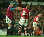 Paul McGrath of Aston Villa pushes Ian Wright of Arsenal - Barclays Premier League - Aston Villa v Arsenal - Villa Park Stadium - Birmingham - England - 2nd December 1995 - Picture Simon Bellis/Sportimage