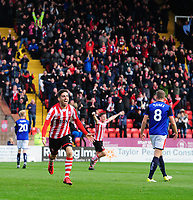 Lincoln City's Tom Pett celebrates scoring the opening goal<br /> <br /> Photographer Chris Vaughan/CameraSport<br /> <br /> The EFL Sky Bet League Two - Lincoln City v Crewe Alexandra - Saturday 6th October 2018 - Sincil Bank - Lincoln<br /> <br /> World Copyright &copy; 2018 CameraSport. All rights reserved. 43 Linden Ave. Countesthorpe. Leicester. England. LE8 5PG - Tel: +44 (0) 116 277 4147 - admin@camerasport.com - www.camerasport.com