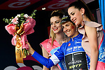 Esteban Chaves (COL) retains the Mountains Maglia Azzurra on the podium at the end of Stage 7 of the 2018 Giro d'Italia, a flat stage running 159km from Pizzo to Praia a Mare, Italy. 11th May 2018.<br /> Picture: LaPresse/Marco Alpozzi | Cyclefile<br /> <br /> <br /> All photos usage must carry mandatory copyright credit (&copy; Cyclefile | LaPresse/Marco Alpozzi)