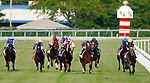 August 10, 2019 : Bricks and Mortar, ridden by Irad Ortiz Jr. (red and white cap), leads the field down the stretch to win the Arlington Million during Arlington Million Day at Arlington International Racecourse in Arlington Heights, Illinois. Jon Durr/Eclipse Sportswire/CSM