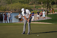 Sergio Garcia (ESP) on the 16th green during Round 3 of the Abu Dhabi HSBC Championship at the Abu Dhabi Golf Club, Abu Dhabi, United Arab Emirates. 18/01/2020<br /> Picture: Golffile | Thos Caffrey<br /> <br /> <br /> All photo usage must carry mandatory copyright credit (© Golffile | Thos Caffrey)