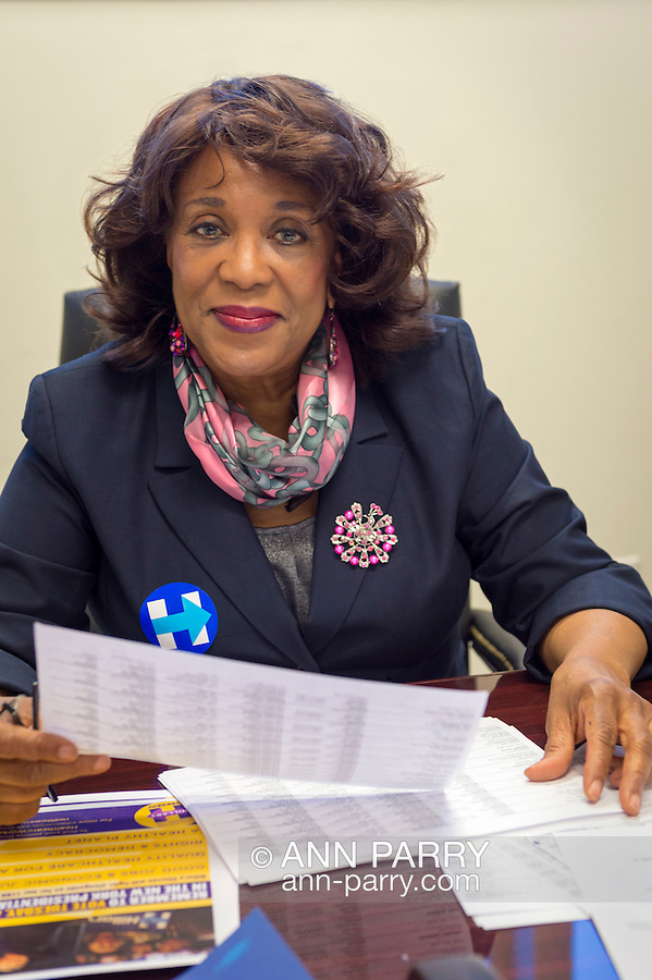 """Garden City, New York, USA. April 17, 2016. BERNICE SIMS, a campaign volunteer for Democratic presidential primary candidate Hillary Clinton, is working at the Canvass Kickoff at the Nassau County Democratic Office. Ms. Sims is a social worker, civil rights activist and author of the 2014 book """"Detour Before Midnight"""" - her personal account of the last hours she and her family were with the Mississipi Burning civil rights workers killed by the KKK in 1964."""