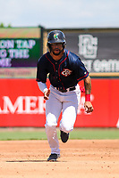 Cedar Rapids Kernels outfielder Jared Akins (30) runs to third base during a Midwest League game against the Peoria Chiefs on May 26, 2019 at Perfect Game Field in Cedar Rapids, Iowa. Cedar Rapids defeated Peoria 14-1. (Brad Krause/Four Seam Images)