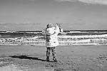 Girl on the beach in Perpignan, France. Feb. 14, 2009.